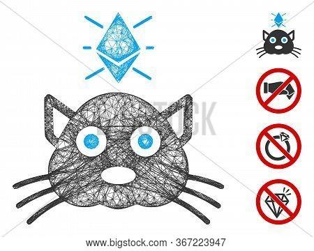 Mesh Ethereum Crypto Kitty Web Icon Vector Illustration. Carcass Model Is Based On Ethereum Crypto K