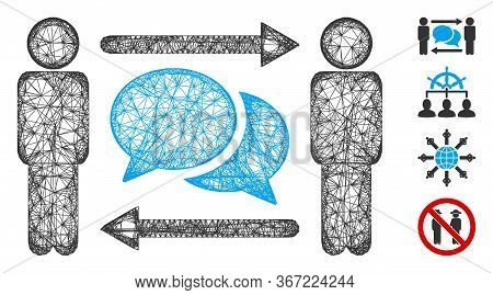 Mesh Persons Exchange Messages Web Symbol Vector Illustration. Carcass Model Is Based On Persons Exc