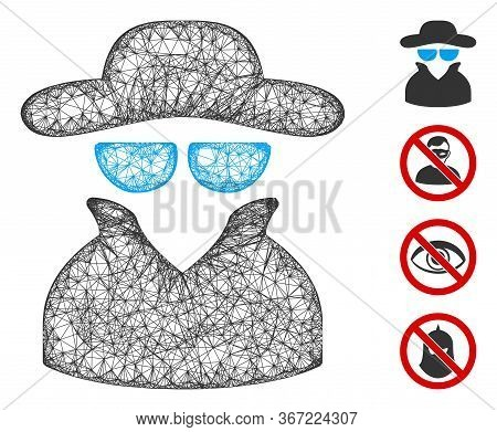 Mesh Spy Web Icon Vector Illustration. Carcass Model Is Based On Spy Flat Icon. Mesh Forms Abstract
