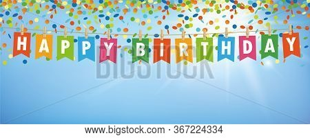Happy Birthday Party Flags Banner With Confetti Rain On Blue Sunny Background Vector Illustration Ep