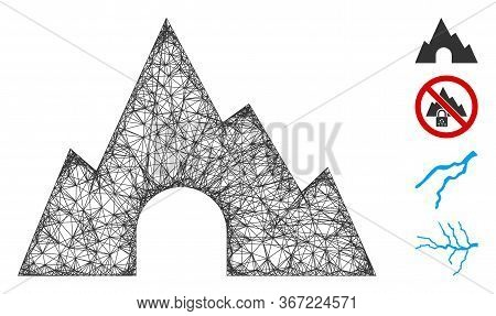 Mesh Mountain Tunnel Web Icon Vector Illustration. Abstraction Is Based On Mountain Tunnel Flat Icon