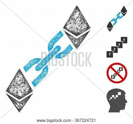 Mesh Ethereum Blockchain Web Icon Vector Illustration. Carcass Model Is Based On Ethereum Blockchain