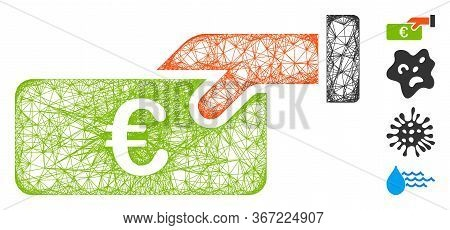 Mesh Income Web Icon Vector Illustration. Model Is Based On Income Flat Icon. Mesh Forms Abstract In