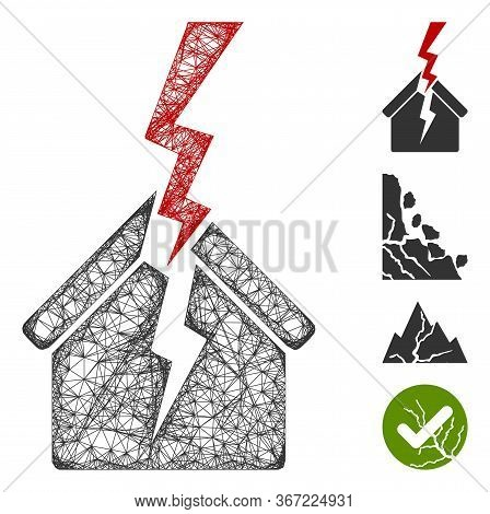 Mesh House Break Web 2d Vector Illustration. Model Is Based On House Break Flat Icon. Mesh Forms Abs