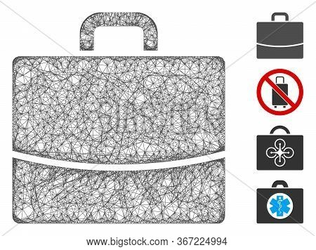 Mesh Briefcase Web Icon Vector Illustration. Carcass Model Is Based On Briefcase Flat Icon. Net Form