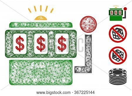 Mesh Slot Machine Web Icon Vector Illustration. Carcass Model Is Based On Slot Machine Flat Icon. Ne