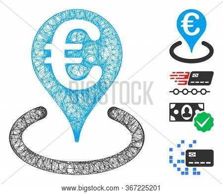 Mesh Euro Bank Map Marker Web Icon Vector Illustration. Carcass Model Is Based On Euro Bank Map Mark