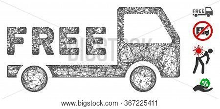 Mesh Free Delivery Web 2d Vector Illustration. Model Is Based On Free Delivery Flat Icon. Network Fo