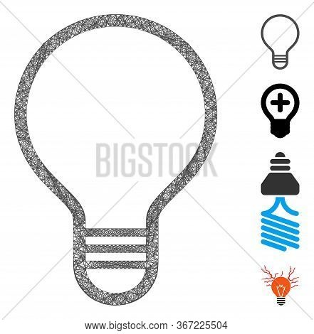 Mesh Bulb Web Icon Vector Illustration. Model Is Based On Bulb Flat Icon. Network Forms Abstract Bul
