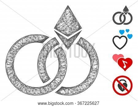 Mesh Ethereum Wedding Rings Web Symbol Vector Illustration. Carcass Model Is Created From Ethereum W
