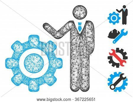 Mesh Engineer And Gear Web Symbol Vector Illustration. Model Is Based On Engineer And Gear Flat Icon