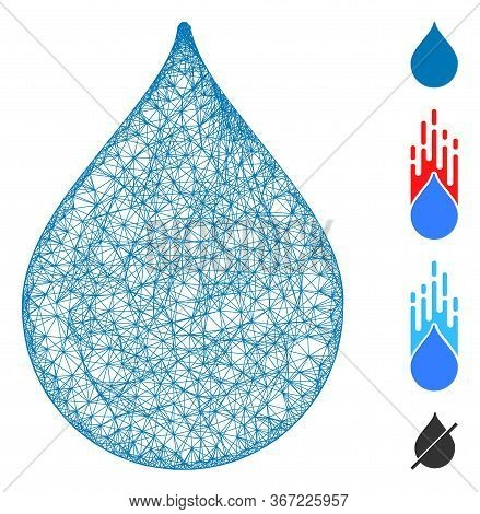 Mesh Drop Web Icon Vector Illustration. Carcass Model Is Based On Drop Flat Icon. Network Forms Abst