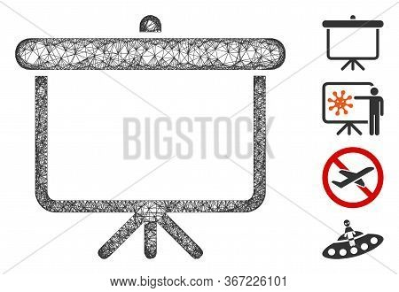Mesh Projection Board Web Icon Vector Illustration. Carcass Model Is Based On Projection Board Flat
