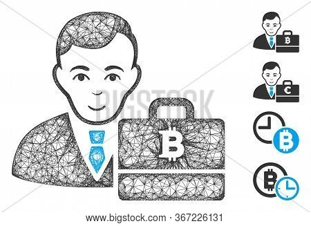 Mesh Bitcoin Accounter Web 2d Vector Illustration. Model Is Based On Bitcoin Accounter Flat Icon. Me