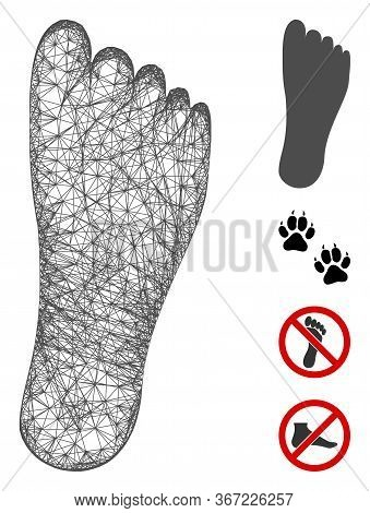 Mesh Foot Web Icon Vector Illustration. Model Is Based On Foot Flat Icon. Mesh Forms Abstract Foot F