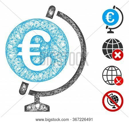 Mesh Euro Globe Web Icon Vector Illustration. Model Is Based On Euro Globe Flat Icon. Mesh Forms Abs