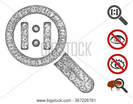 Mesh Zoom Actual Size Web Symbol Vector Illustration. Carcass Model Is Based On Zoom Actual Size Fla