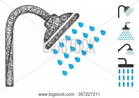 Mesh Shower Web Icon Vector Illustration. Model Is Based On Shower Flat Icon. Network Forms Abstract