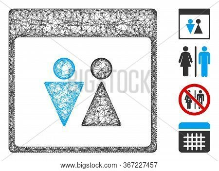 Mesh Wc Persons Calendar Page Web Icon Vector Illustration. Model Is Based On Wc Persons Calendar Pa