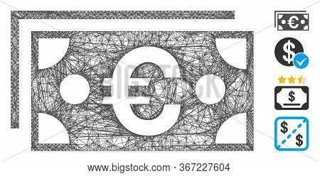 Mesh Euro Banknotes Web Icon Vector Illustration. Carcass Model Is Based On Euro Banknotes Flat Icon