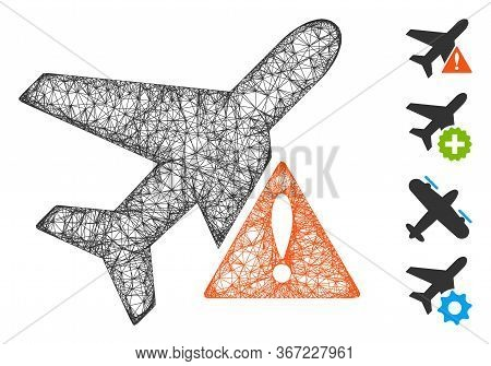 Mesh Airplane Error Web 2d Vector Illustration. Carcass Model Is Created From Airplane Error Flat Ic