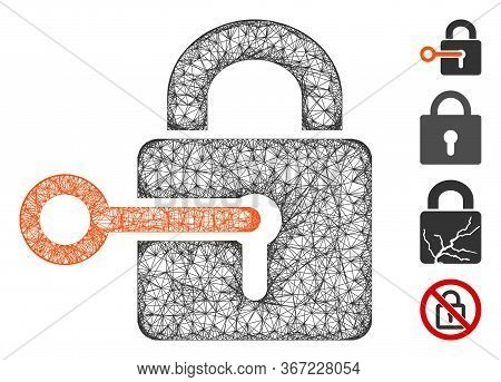 Mesh Secrecy Web Icon Vector Illustration. Model Is Based On Secrecy Flat Icon. Mesh Forms Abstract