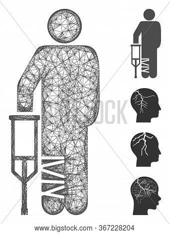 Mesh Broken Leg Patient Web Icon Vector Illustration. Carcass Model Is Based On Broken Leg Patient F