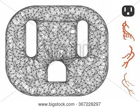 Mesh Electric Socket Web Icon Vector Illustration. Abstraction Is Based On Electric Socket Flat Icon