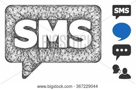 Mesh Sms Web Symbol Vector Illustration. Carcass Model Is Based On Sms Flat Icon. Network Forms Abst