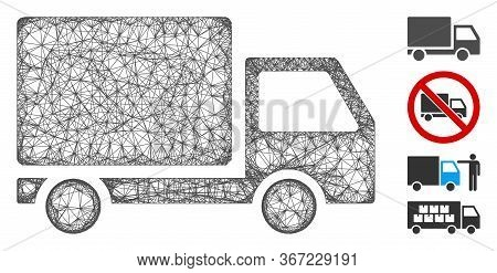 Mesh Delivery Lorry Web Icon Vector Illustration. Abstraction Is Based On Delivery Lorry Flat Icon.