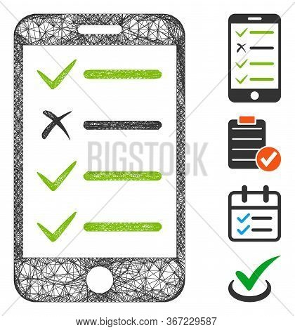 Mesh Mobile Checklist Web Icon Vector Illustration. Carcass Model Is Based On Mobile Checklist Flat