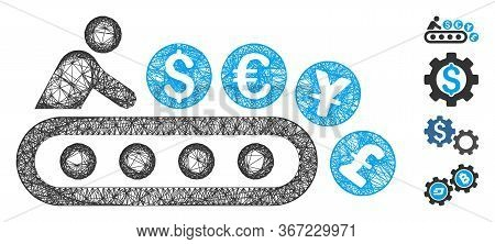 Mesh Money Factory Web 2d Vector Illustration. Carcass Model Is Based On Money Factory Flat Icon. Me