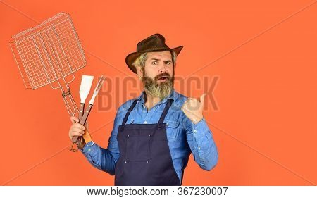 Picnic And Barbecue. American Picnic. Family Tradition. Cooking Meat. Spring Season. Bearded Farmer