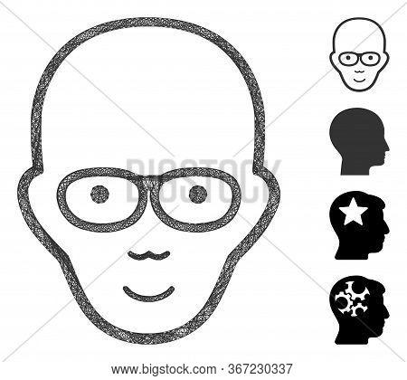 Mesh Bald Head Web Symbol Vector Illustration. Model Is Based On Bald Head Flat Icon. Network Forms