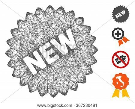 Mesh New Sticker Web Symbol Vector Illustration. Model Is Based On New Sticker Flat Icon. Mesh Forms