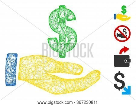 Mesh Dollar Salary Web Icon Vector Illustration. Abstraction Is Based On Dollar Salary Flat Icon. Me