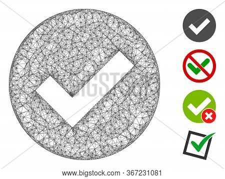 Mesh Ok Web Icon Vector Illustration. Carcass Model Is Based On Ok Flat Icon. Net Forms Abstract Ok