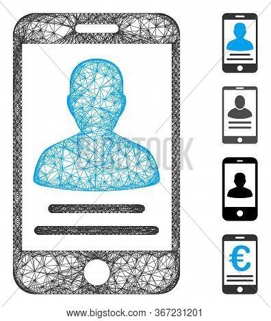 Mesh Mobile Account Web Icon Vector Illustration. Model Is Based On Mobile Account Flat Icon. Mesh F