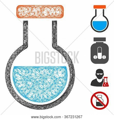Mesh Phial Web Icon Vector Illustration. Model Is Based On Phial Flat Icon. Network Forms Abstract P