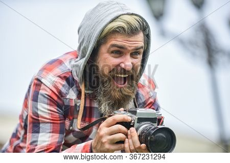 Reporter Make Photo. Vintage Camera. Capture These Memories. Slr Camera. Hipster Man With Beard Use