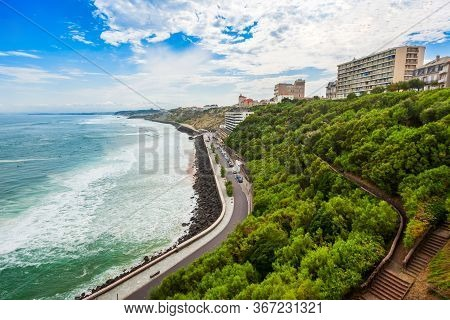 Biarritz Aerial Panoramic View. Biarritz Is A City On The Bay Of Biscay On The Atlantic Coast In Fra