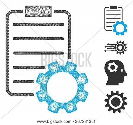 Mesh Smart Contract Gear Web Symbol Vector Illustration. Abstraction Is Based On Smart Contract Gear