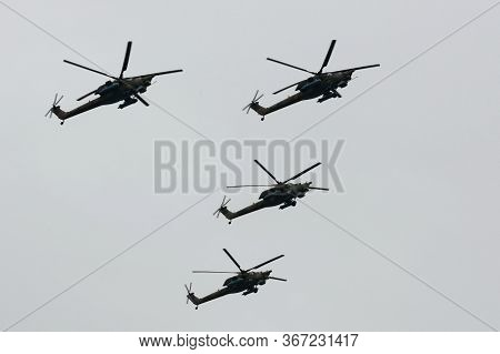 Moscow, Russia - May 9, 2020:mi-28n Night Hunter Attack Helicopter Group Over Red Square During The