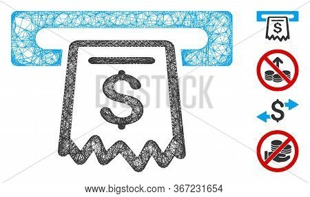 Mesh Receipt Terminal Web Icon Vector Illustration. Carcass Model Is Based On Receipt Terminal Flat