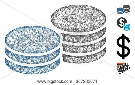 Mesh Coins Web 2d Vector Illustration. Model Is Based On Coins Flat Icon. Network Forms Abstract Coi