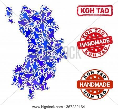 Vector Handmade Combination Of Koh Tao Map And Scratched Seals. Mosaic Koh Tao Map Is Composed Of Ra