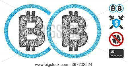 Mesh Double Bitcoin Web 2d Vector Illustration. Carcass Model Is Based On Double Bitcoin Flat Icon.
