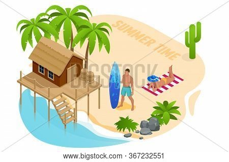 Isometric Summer Vacation Concept. Summer Time. Luxury Overwater Thatched Roof Bungalow In A Honeymo