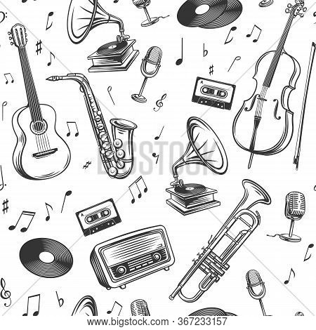 Retro Music Seamless Pattern. Musical Instruments Microphone, Record, Cassette, Radio, Saxophone And