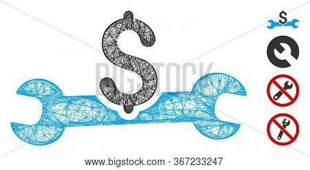Mesh Service Cost Web Icon Vector Illustration. Carcass Model Is Based On Service Cost Flat Icon. Ne